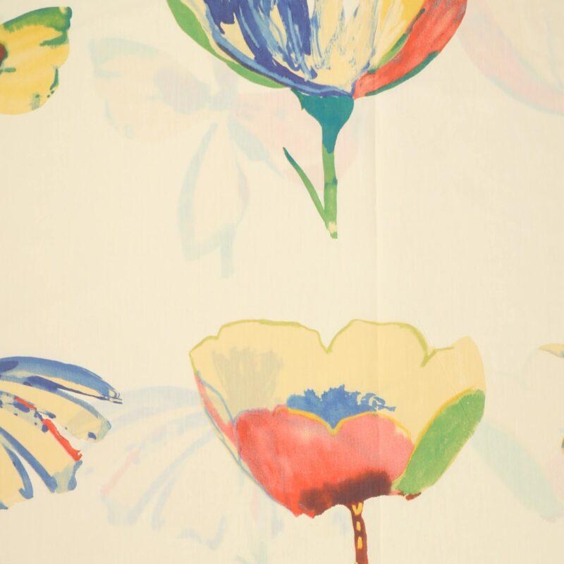 Store blomster på cremefarvet bund - Bade/bruseforhæng -