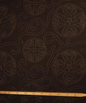 Mørkebrun m. broderet mønster - Bomuld/viskose -