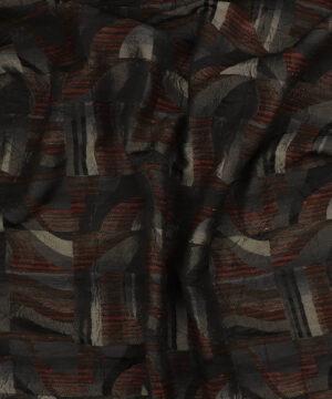 Mønster i grå på striber - Polyester/uld/polyacryl -