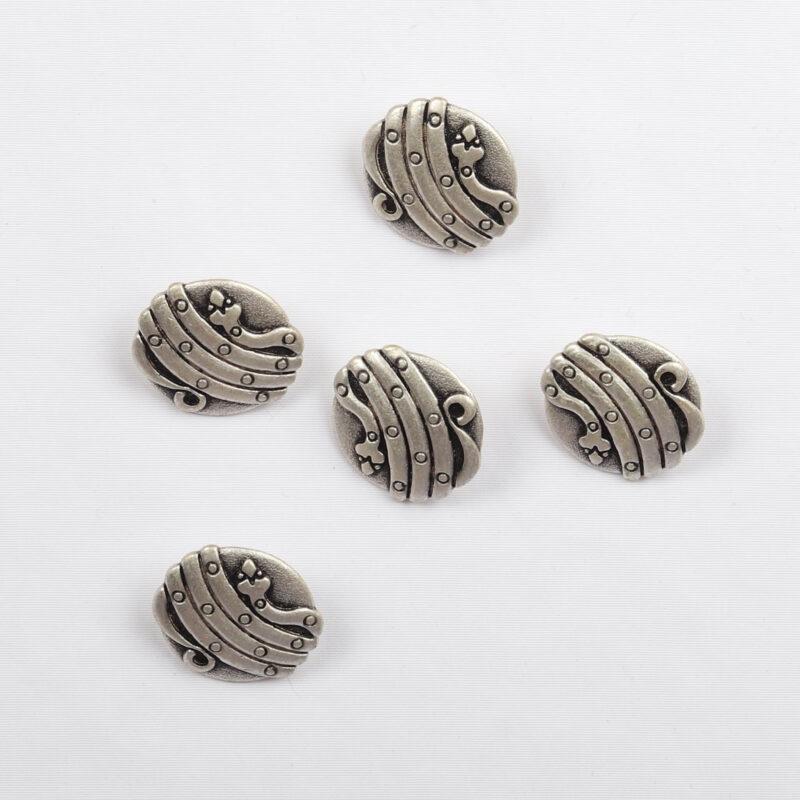 Sølv m. mønster, ø 18 mm -
