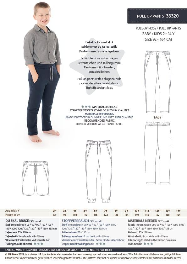 Pull Up Pants str. 2-14 år – minikrea 33320 - Minikrea