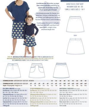 Jersey nederdel, str.2-16år / 34-50 - Minikrea 66140 - Minikrea