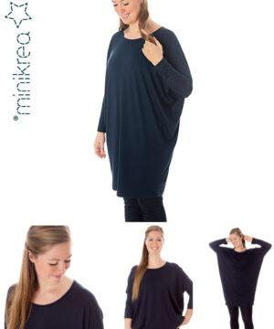 Loose fit jersey kjole, str.34-50 - Minikrea 70047 - Minikrea