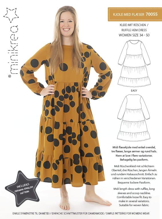 Kjole med flæse str. 34-50 – minikrea 70055 - Minikrea