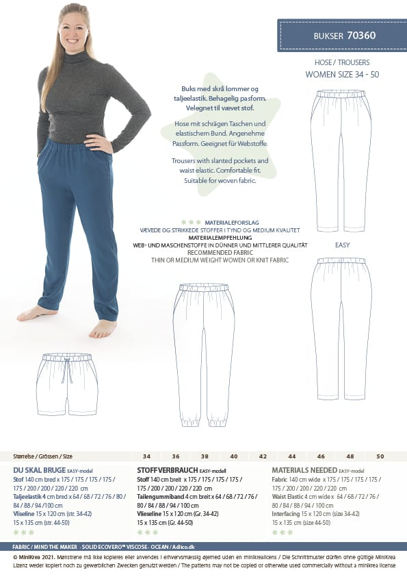 Bukser str. 34-50 – minikrea 70360 -