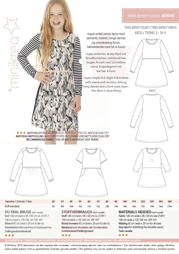 Teen Jersey Kjole, str. 2-16 år - Minikrea 40040 - Minikrea