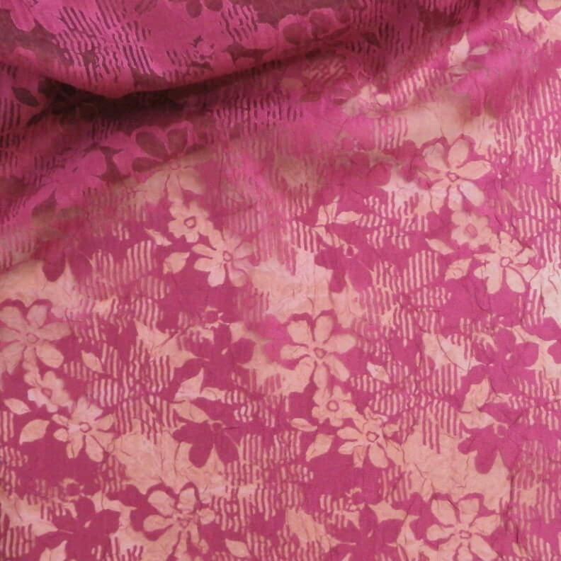 Cerise med blomster - Chiffon, polyester -