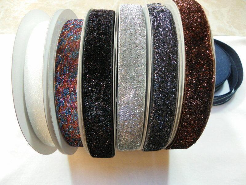 Bånd med glimmer, flere farver, 25 mm -
