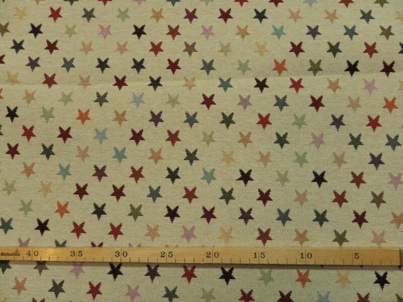 Cremefarvet med stjerner, bomuld/polyester møbelstof -