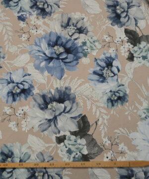 Beige med blå blomster, 280 cm. bred -