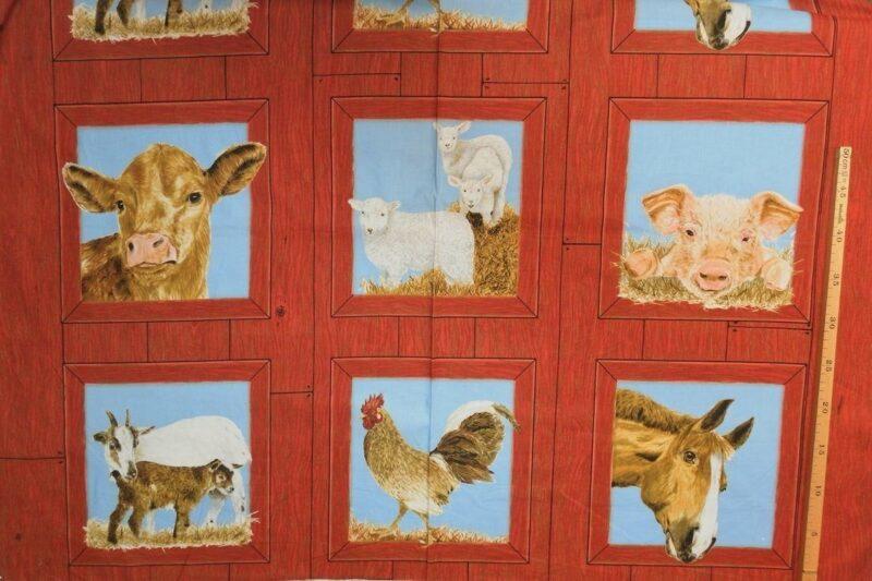 Gårdens dyr med rødbrun kant, patchwork rapp. - Info mangler