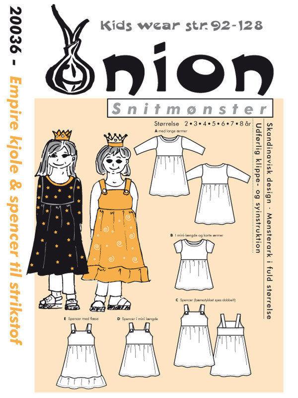 Empire kjole og spencer, str. 2-8 år – Onion kids wear 20036 - Onion