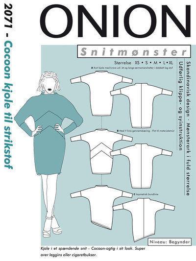 Cocoon kjole til strikstof, str. XS - XL - Onion 2071 - Onion