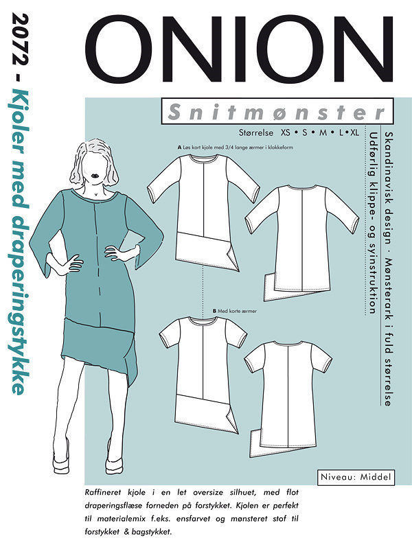 Kjole med draperingstykke, str. XS – XL – Onion 2072 - Onion