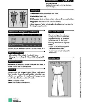 Snitmønster jumpsuit med vingeærme til strikstof – Onion 6026 - Onion