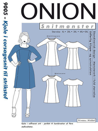Kjole i corsagesnit til strikstof, str. XL – 5 XL – Onion 9005 -