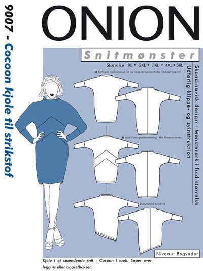 Cocoon kjole til strikstof, str. XL – 5 XL – Onion 9007 - Onion