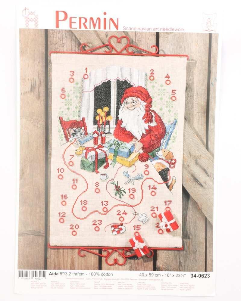 Broderi kit - Kalender m. julemand 40x59 cm -