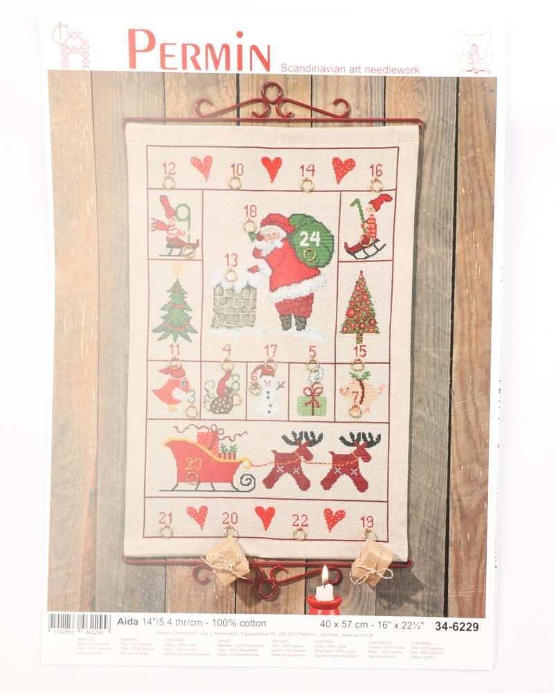 Broderi kit - Kalender m. flere julemotiver 40x57 cm -