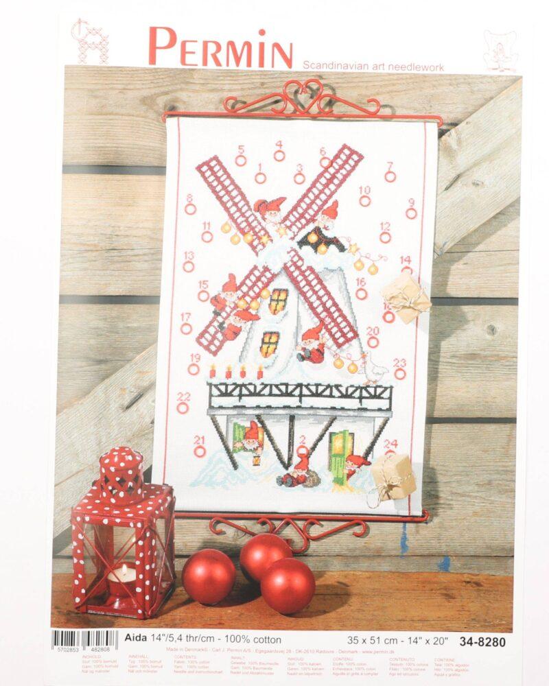 Broderi kit - Kalender m. julemand og sæk 35x51 cm -