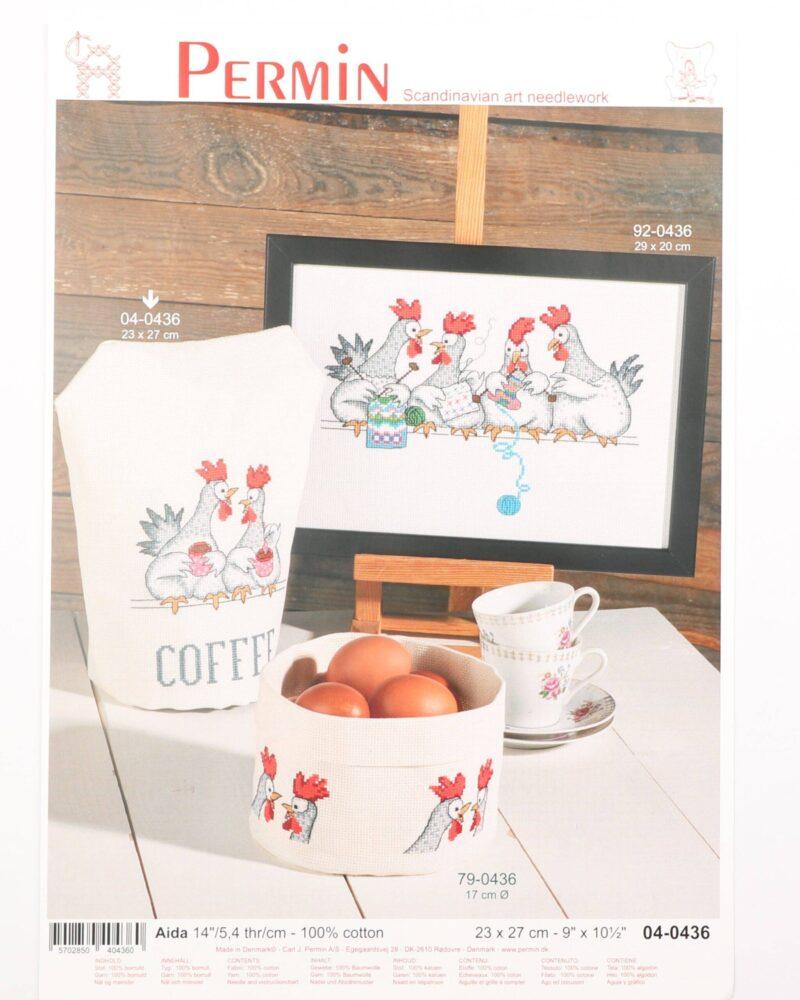 Broderi kit - Høns (Kaffehætte) 23x27 cm -