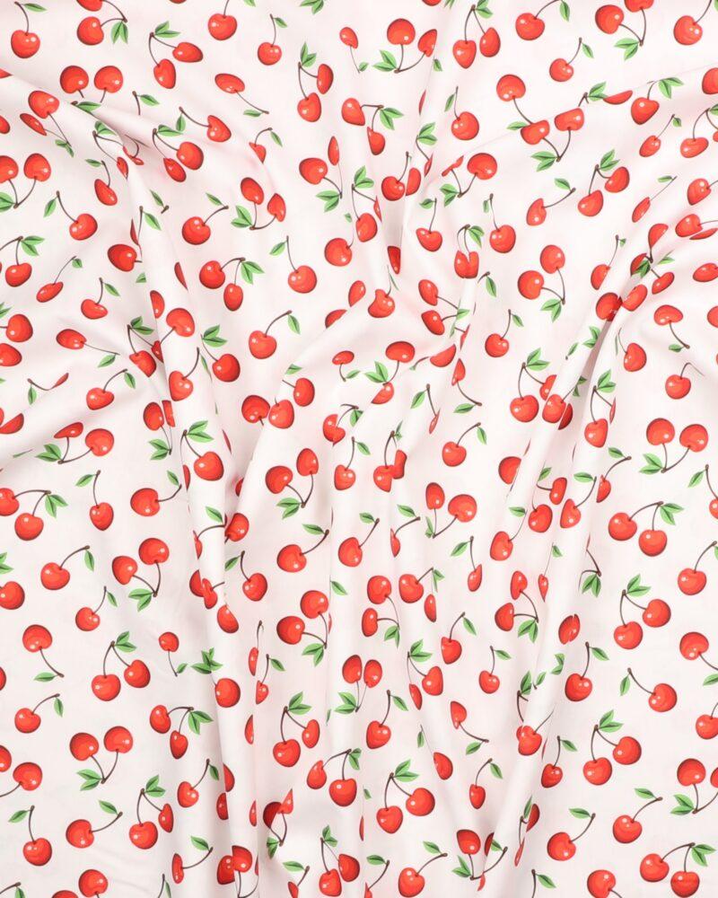 Kirsebær på hvid bund- Let bomuld -