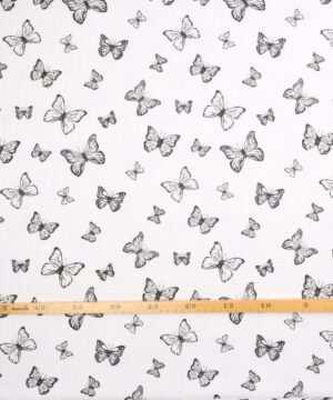 Hvid m. sommerfugle - Double Gauze blestof/musselin stof -