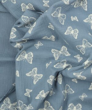Mørk dueblå m. sommerfugle - Double Gauze blestof/musselin stof -