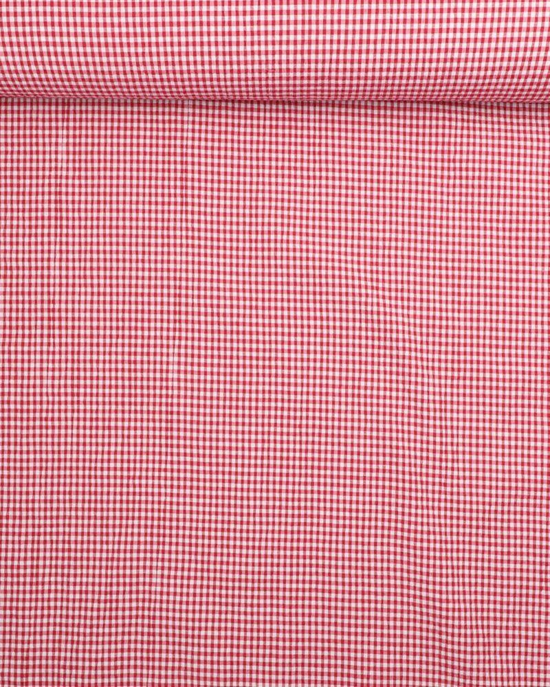 Seersucker i rød/hvid - Bomuld/polyester m. stræk -