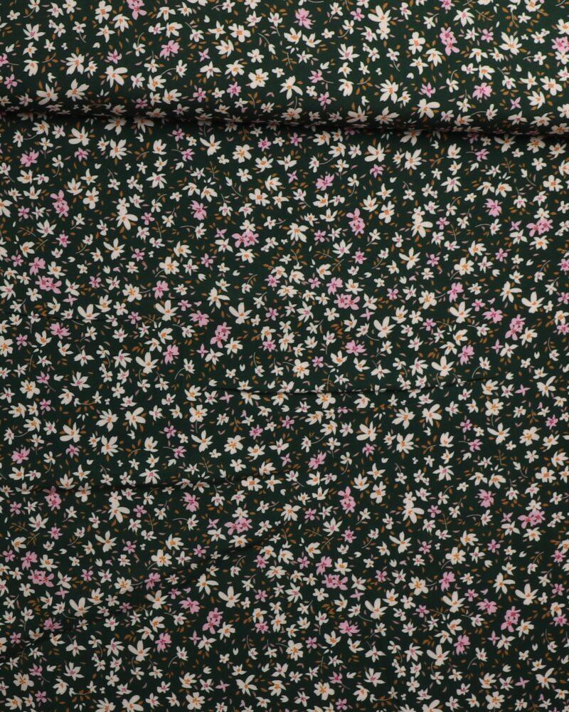 Små blomster på mørkegrøn - Viskose -