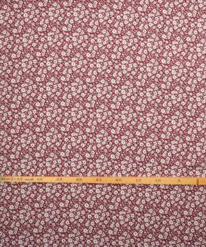 Hvide blomster på bordeaux - Viskose - Info mangler