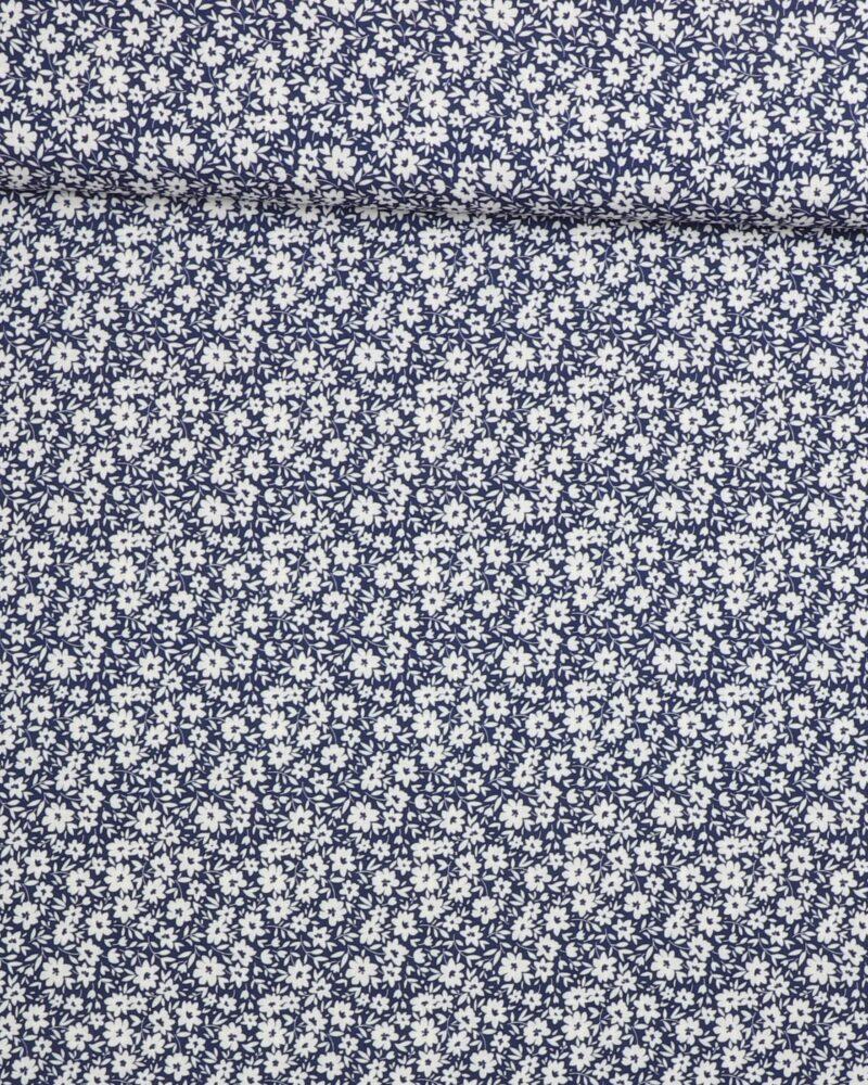 Hvide blomster på blå - Viskose -