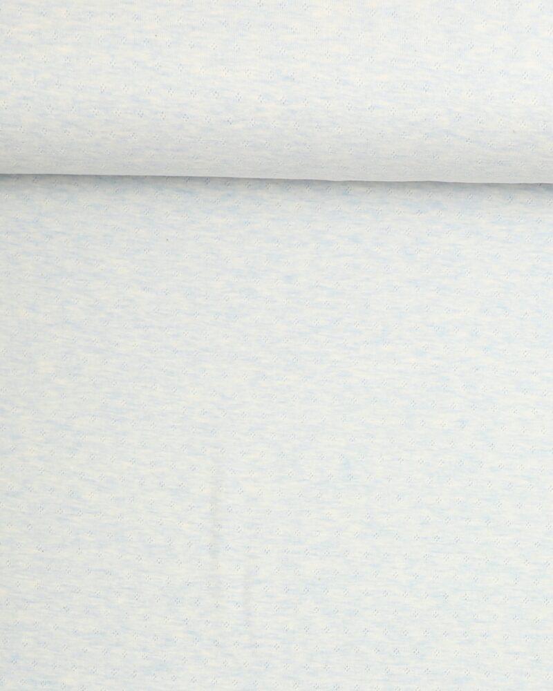 Lyseblå melange m. hulmønster - Jersey -