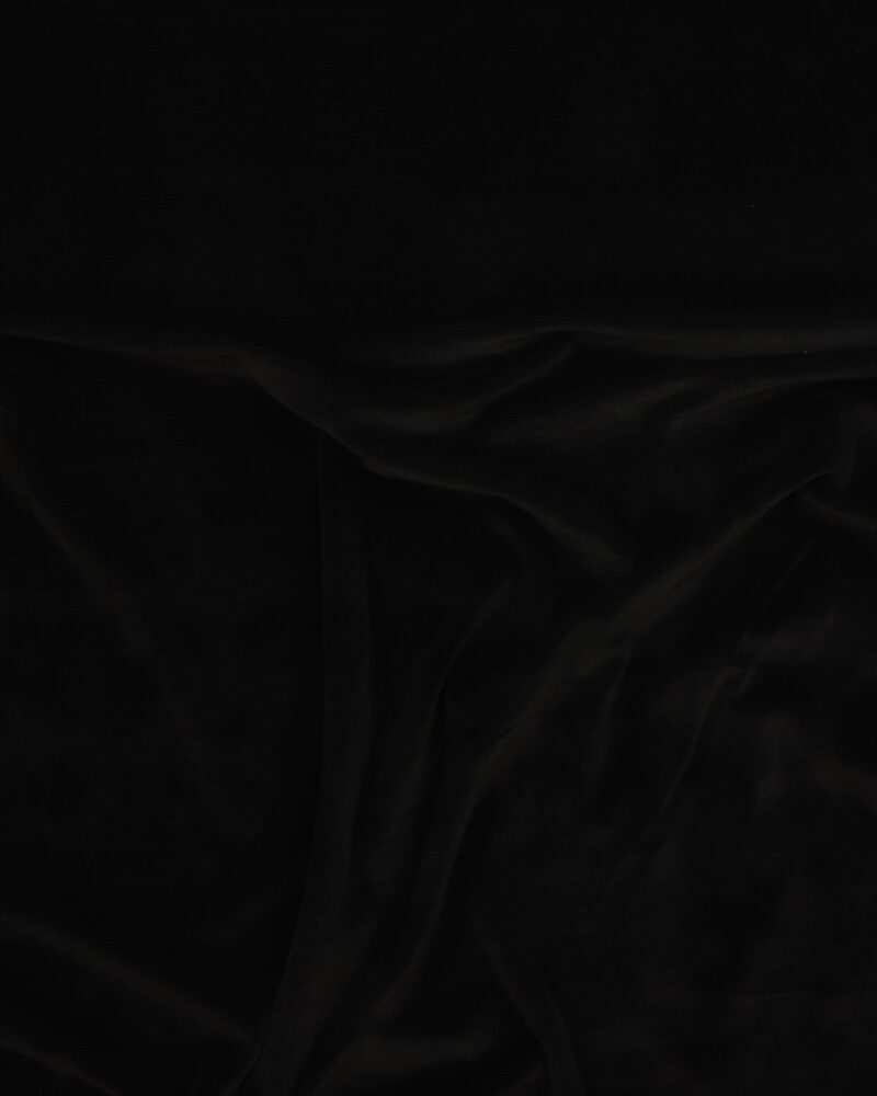Smalriflet stretch velour - Sort -