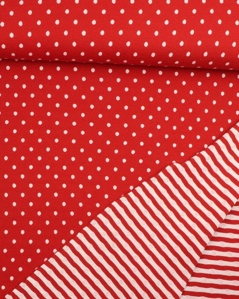 Rød og hvid dobbeltstrikket - Strik -
