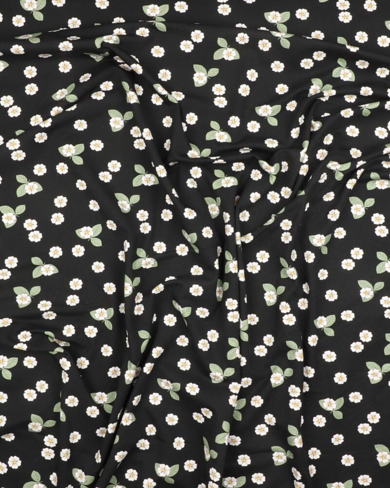 Små hvide blomster på sort - Jersey -