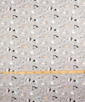 Tegnet katte på grå - Patchwork -