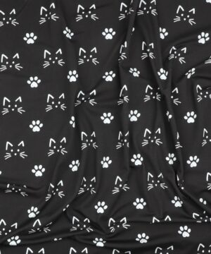 Kattehoveder og poter på sort - Jersey -