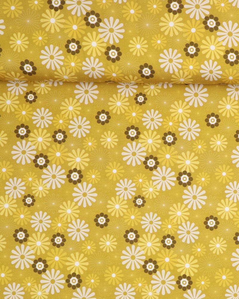 Retro blomster på lys oliven - Jersey -