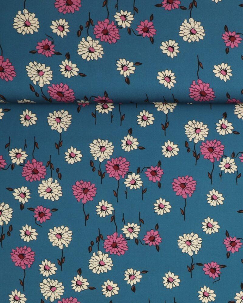 Blomster på blå - Viskose -