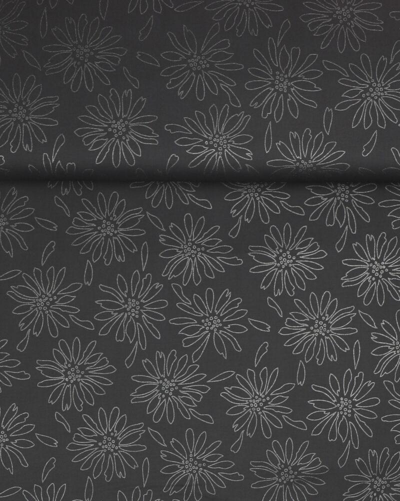 Sølvblomster på grå - Patchwork - Info mangler