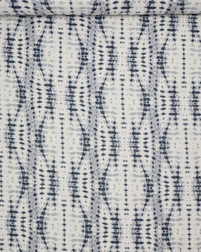 Blå/offwhite mønster - Møbelstof - Info mangler