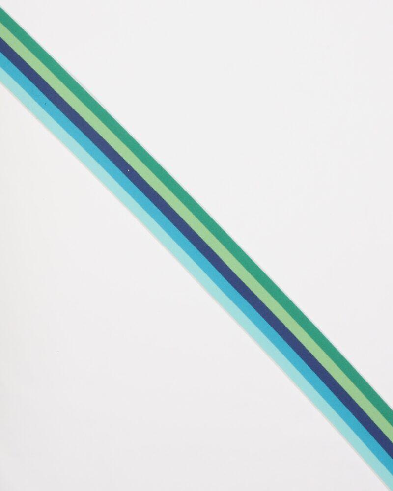 Stribet elastik i blå og grøn -