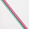 Stribet elastik og blå, grøn, lilla, lyserød og rød -