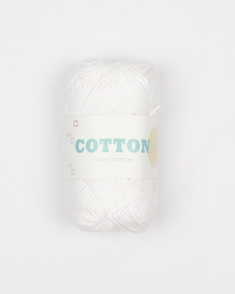 Cotton 8/8, hvid - 100% Bomuld -