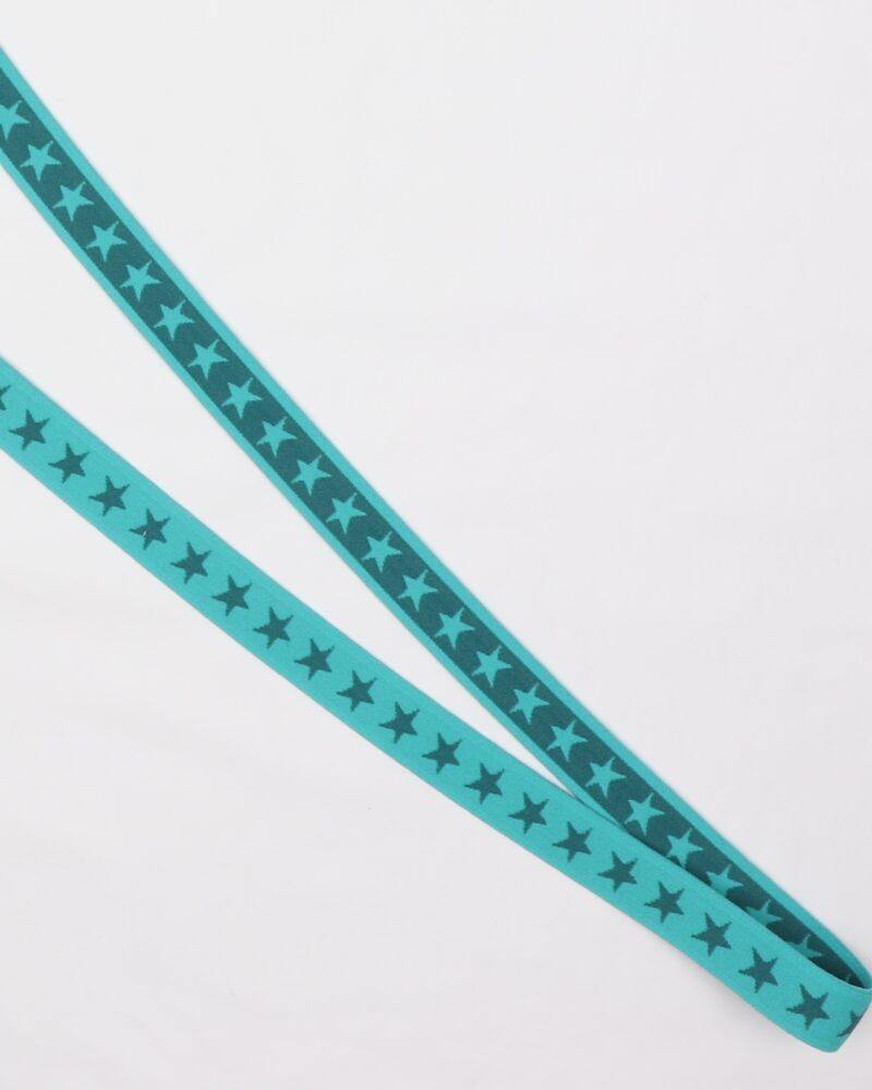 Stjerner, Turkisgrøn/petrol - 20 mm elastik -