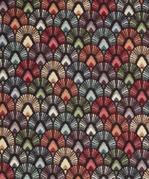 Multifarvet viftemønster - Møbelstof -