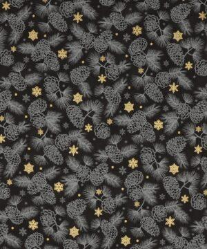 Gold Shimmers, sort m. guld og kogler - Patchwork - Info mangler