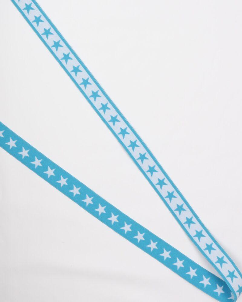Stjerner, Turkis/hvid - 20 mm elastik -