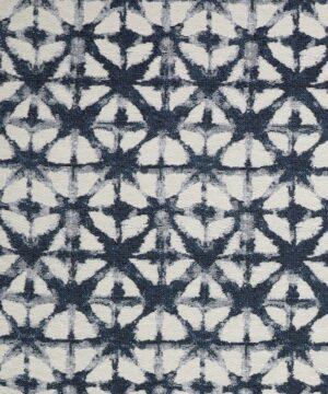 Blå/offwhite mønster - Møbelstof -